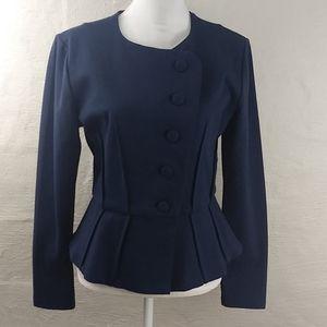 Marycrafts Blue Cross Button Front Peplum Blazer